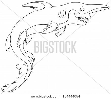 Black and white vector illustration of a deep-see goblin shark with an insidious smile