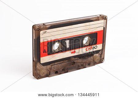 Classic Cassette Tape. Old Cassette Tape. Cassette Tape On White Background.