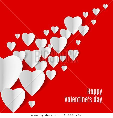 Red Background with several white folded paper hearts