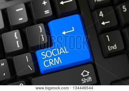 Social CRM Close Up of Modernized Keyboard on a Modern Laptop. Concepts of Social CRM, with a Social CRM on Blue Enter Key on Modernized Keyboard. 3D.