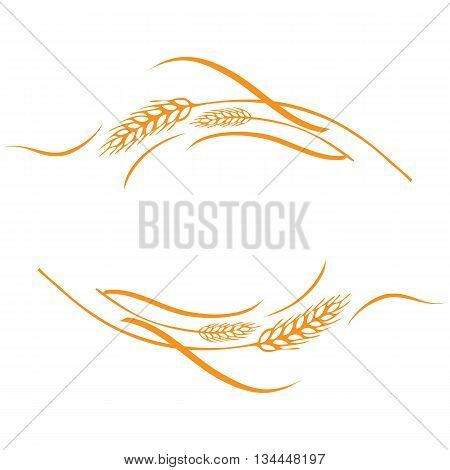 Vector illustration of a few gold ripe wheat ears. Can be used as frame corner or border design element.