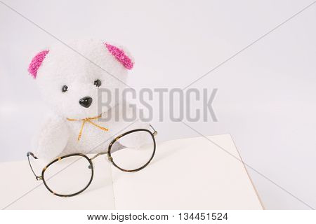 Dolly bear with glasses on notepad vintage style