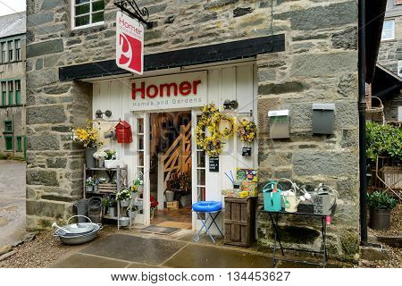 ABERFELDY SCOTLAND - JUNE 06 2016: Homer shop at The Watermill gallery bookshop and cafe in Aberfeldy Perthshire Scotland