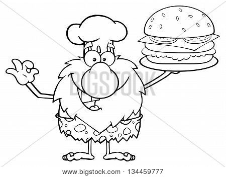 Black And White Chef Male Caveman Cartoon Mascot Character Holding A Big Burger And Gesturing Ok