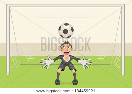 Goalkeeper catches soccer ball. Penalty kick in soccer. Football goal. Vector cartoon illustration