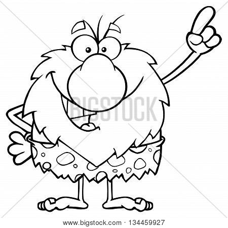 Black And White Smiling Male Caveman Cartoon Mascot Character Pointing