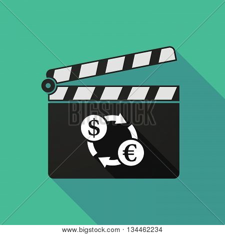Long Shadow Clapperboard With A Dollar Euro Exchange Sign