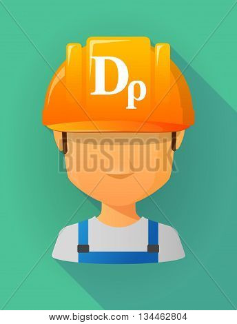 Worker Male Avatar Wearing A Safety Helmet With A Drachma Currency Sign