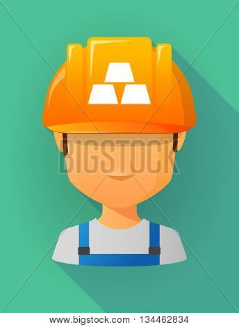 Worker Male Avatar Wearing A Safety Helmet With Three Gold Bullions
