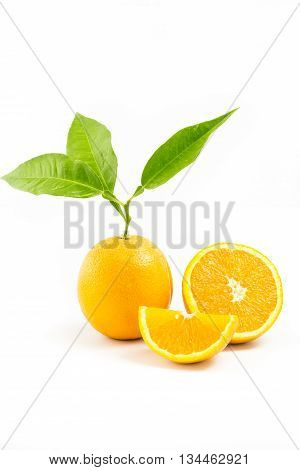Fresh Orange Isolated With Leafs And Orange Slices On White Background