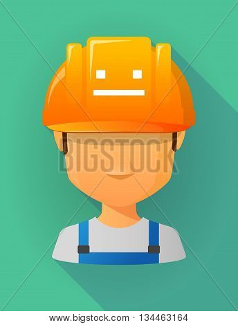 Worker Male Avatar Wearing A Safety Helmet With A Emotionless Text Face