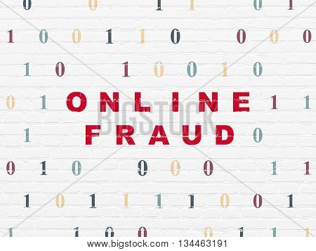 Safety concept: Painted red text Online Fraud on White Brick wall background with Binary Code