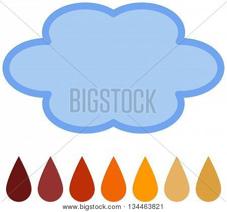 Acid Rain - An outline of a cloud above 7 rain drops in colours from the PH acid spectrum