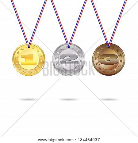 Medals for first, second and third place with lored ribbons