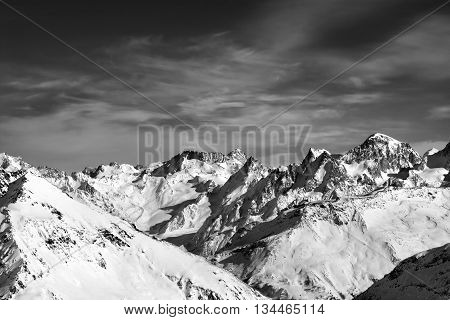 Black And White Snowy Peaks