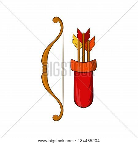 Medieval bow with arrows and quiver icon in cartoon style on a white background