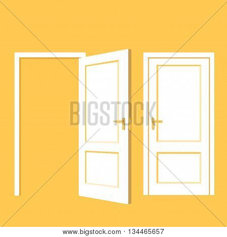Isolated objects. Open door. Close door. Realistic vector illustration. Wooden door