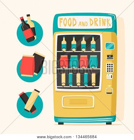 Vintage vending machine with food and drinks. Retro cartoon style. Vector illustration. Isolated background. Purchase of clean water. Drinking water