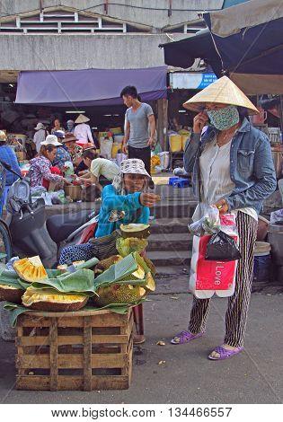 Woman Is Selling Jackfruits On Street Market In Hue, Vietnam