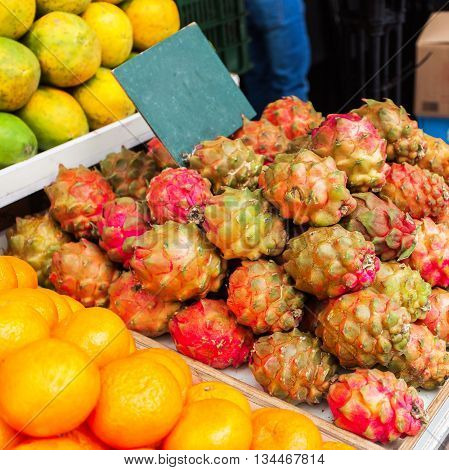 Countertop with a large selection of fruit in the Mahane Yehuda Market in Erusalem. Israel