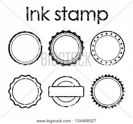 Grunge rubber stamp set, rough texture applied