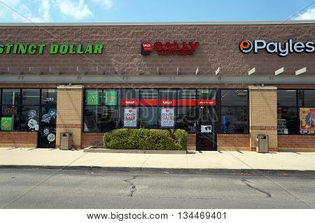 SHOREWOOD, ILLINOIS / UNITED STATES - AUGUST 16, 2015: One may purchase beauty products at Sally Beauty Supply, in a Shorewood strip mall.