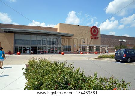SHOREWOOD, ILLINOIS / UNITED STATES - AUGUST 16, 2015: One may purchase home goods, clothing, electronics, etc. at the Shorewood Target store, which offers exclusive designer collections.