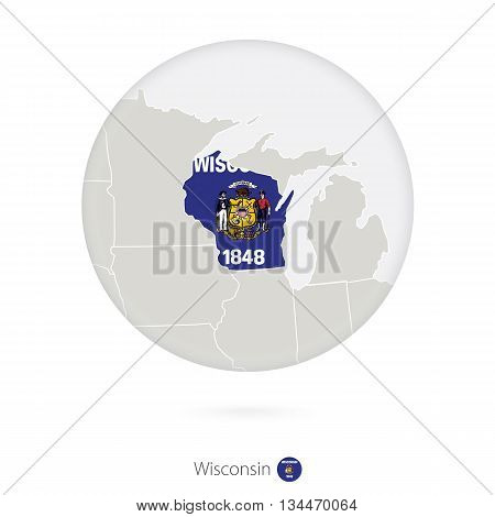 Map Of Wisconsin State And Flag In A Circle.