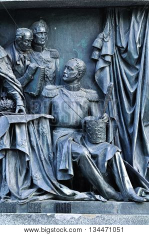 VELIKY NOVGOROD RUSSIA - JUNE 14 2016. Monument Millennium of Russia - sculptures of tsar Nicholas I and Mikhail Vorontsov Field Marshal and Mikhail Speransky Statesman