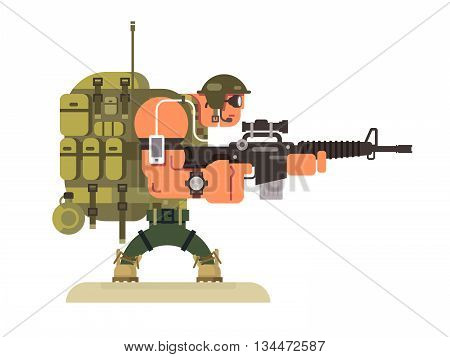Character military peacekeeper. Army soldier and war, weapon and uniform, flat vector illustration