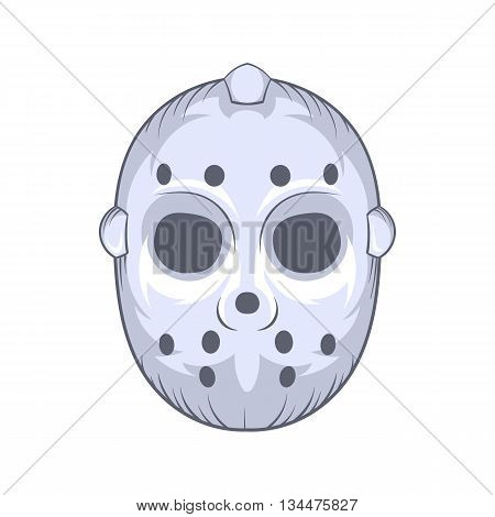 Hockey goalie mask icon in cartoon style on a white background