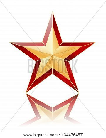 gold with red star on white with reflection. vector illustration