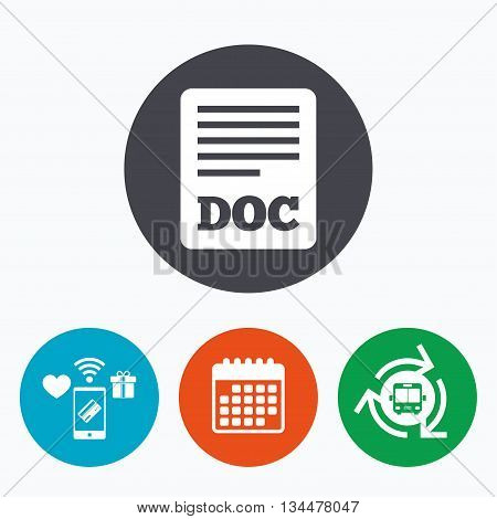 File document icon. Download doc button. Doc file symbol. Mobile payments, calendar and wifi icons. Bus shuttle.
