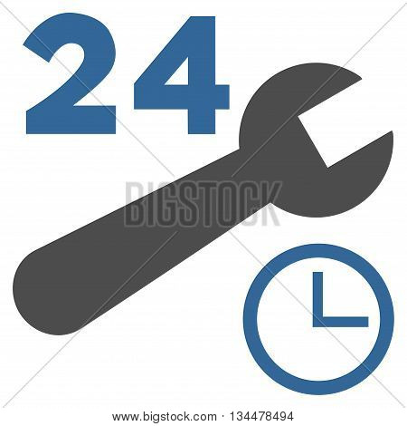 Nonstop Service Hours vector icon. Style is bicolor flat icon symbol, cobalt and gray colors, white background.