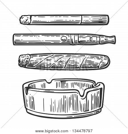 Cigar, cigarette, mouthpiece, ashtray. Vector vintage engraved black illustration isolated on white background.