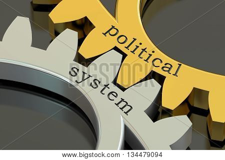 political system concept on the gearwheels 3D rendering