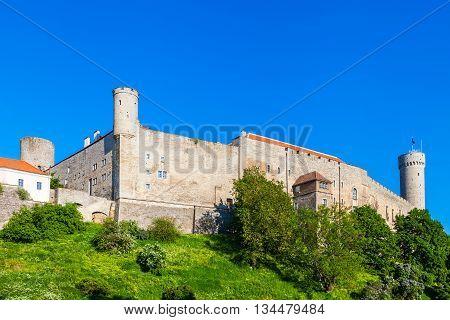 Medieval Toompea Castle In Old City Town, Tallinn, Estonia.