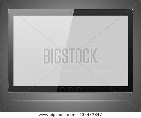 Abstract Tablet computer with blank screen in iPad style on a grey background
