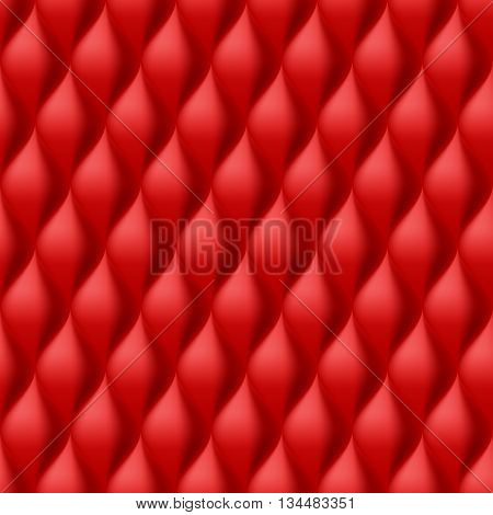Vertical Convex Wavy Seamless Pattern. Red Color Background