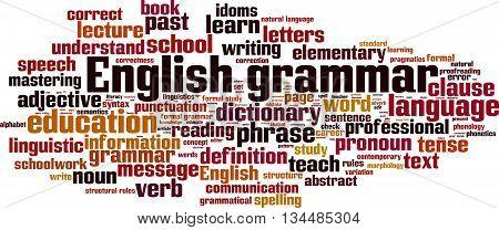 English grammar word cloud concept. Vector illustration