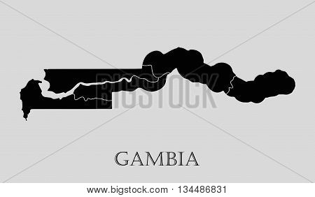 Black Gambia map on light grey background. Black Gambia map - vector illustration.