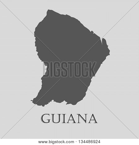 Black Guiana map on light grey background. Black Guiana map - vector illustration.