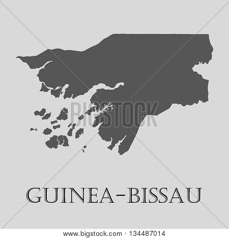 Black Guinea - Bissau map on light grey background. Black Guinea - Bissau map - vector illustration.