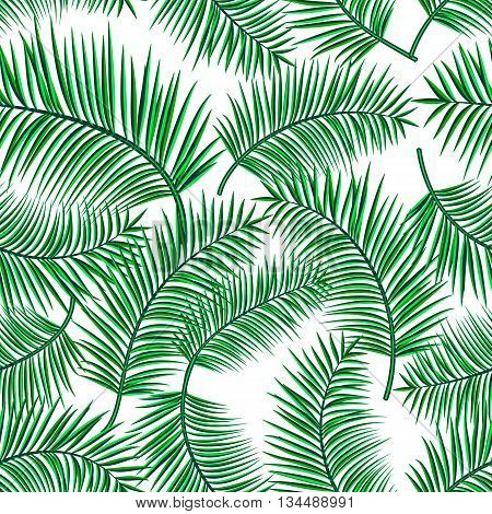 Retro vector illustration of exotic tropical seamless pattern with cartoon palm leaves isolated on white background. Trendy plant endless backdrop. Use for print web