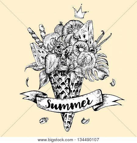 Summer monochrome vector hand drawn greeting card with a fruity cocktail in waffle cone flowers isolated natural illustration Berries in waffle cones