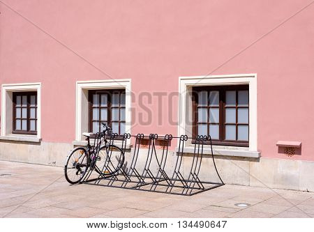 Bicycle racks in bicycle parking facility in old european city Lublin in Poland