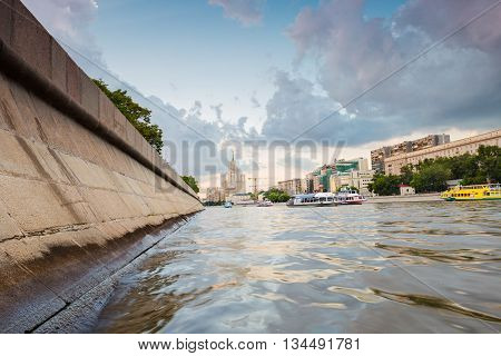 Moscow Russia - June 03 2016: River boat transport in Moscow city center at sunset in summer