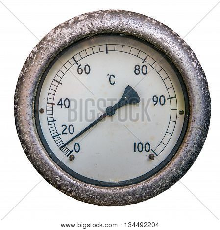 A Vintage Dial Thermometer Or Temperature Gauge On A White Background