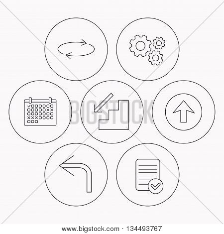 Arrows icons. Upload, repeat and shuffle linear signs. Turn left, downstairs arrow flat line icons. Check file, calendar and cogwheel icons. Vector