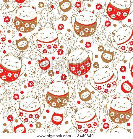 Seamless pattern with cats maneki neko. Vector illustration.